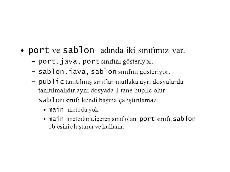 port ve sablon adında iki sınıfımız var.