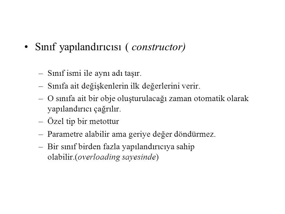 Sınıf yapılandırıcısı ( constructor)
