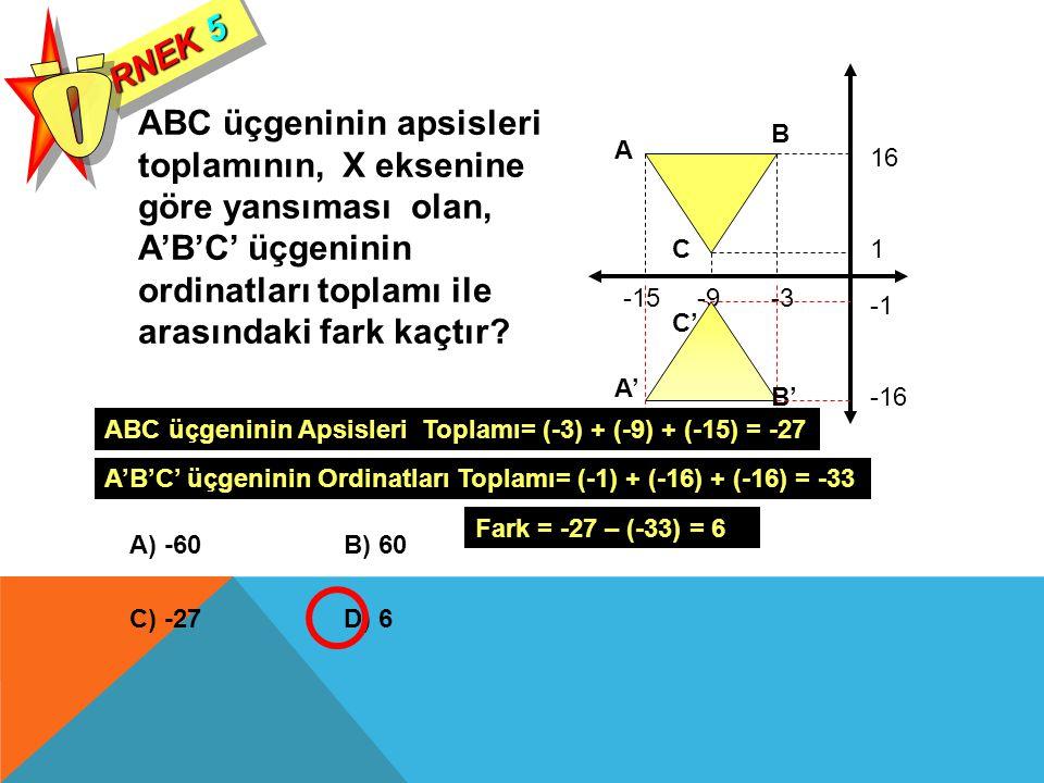RNEK 5 Ö. ABC üçgeninin apsisleri toplamının, X eksenine göre yansıması olan, A'B'C' üçgeninin ordinatları toplamı ile arasındaki fark kaçtır