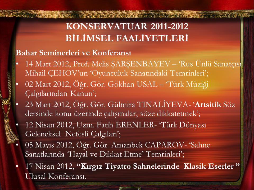 KONSERVATUAR 2011-2012 BİLİMSEL FAALİYETLERİ