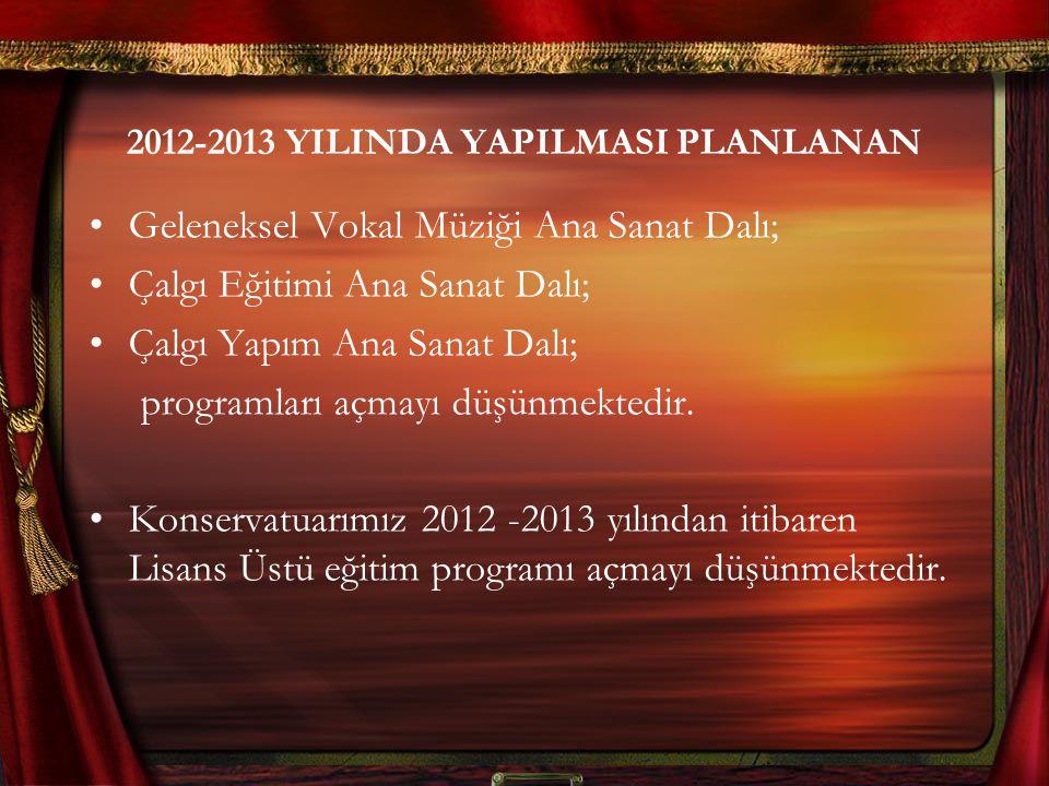 2012-2013 YILINDA YAPILMASI PLANLANAN