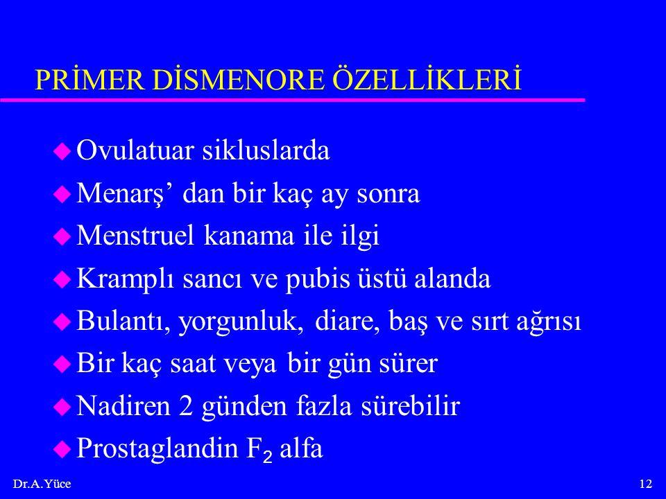 PRİMER DİSMENORE ÖZELLİKLERİ