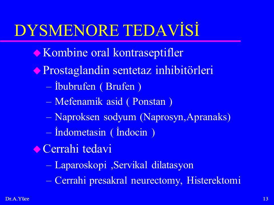 DYSMENORE TEDAVİSİ Kombine oral kontraseptifler