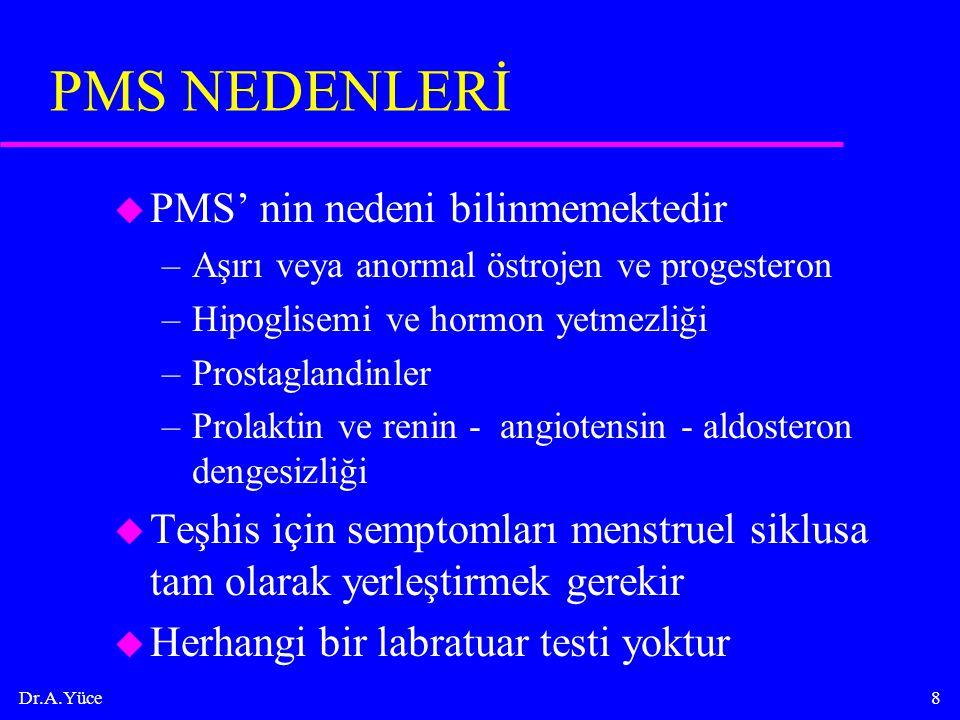 PMS NEDENLERİ PMS' nin nedeni bilinmemektedir