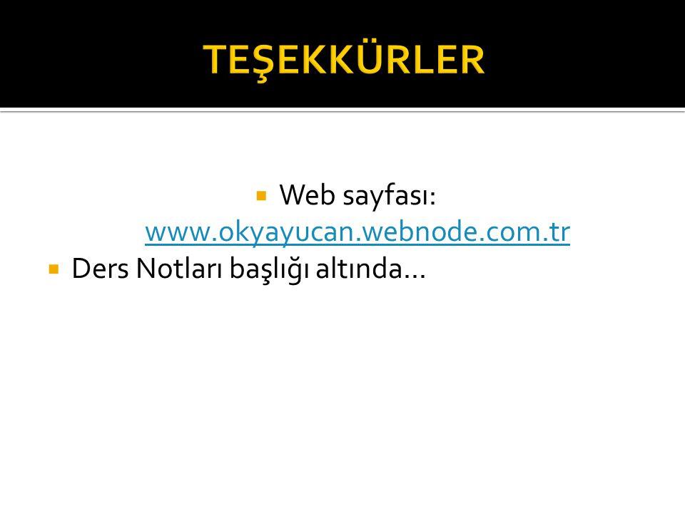 Web sayfası: www.okyayucan.webnode.com.tr