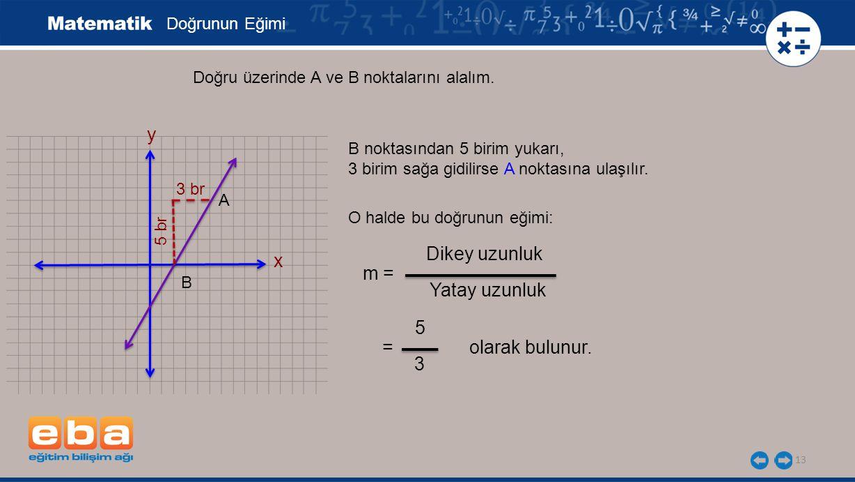 y Dikey uzunluk x m = Yatay uzunluk 5 = olarak bulunur. 3