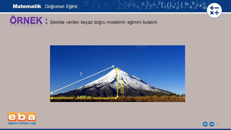 Doğrunun Eğimi ÖRNEK : Şekilde verilen beyaz doğru modelinin eğimini bulalım. 3200 m 6400 m