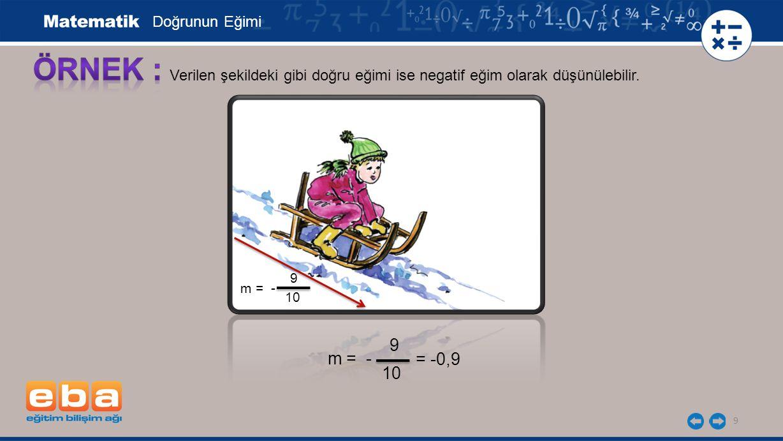 ÖRNEK : 9 m = - = -0,9 10 Doğrunun Eğimi