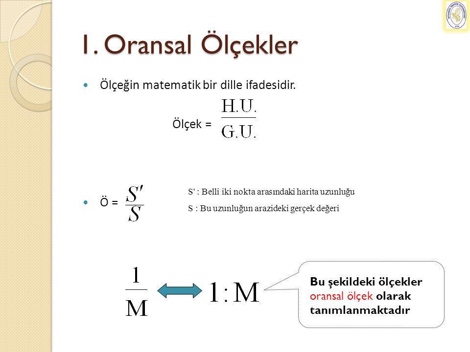 1. Oransal Ölçekler Ölçeğin matematik bir dille ifadesidir. Ölçek =