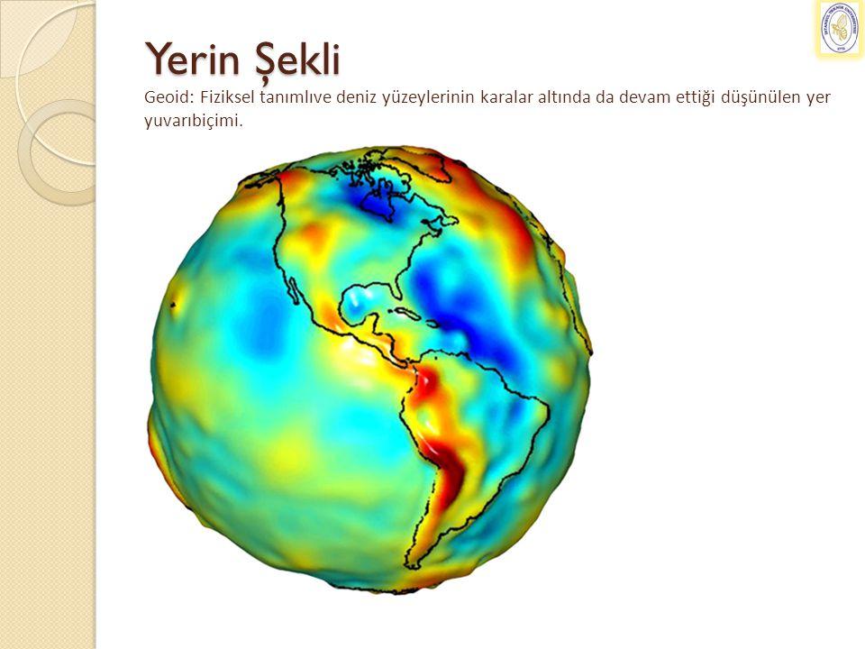Yerin Şekli Geoid: Fiziksel tanımlıve deniz yüzeylerinin karalar altında da devam ettiği düşünülen yer yuvarıbiçimi.