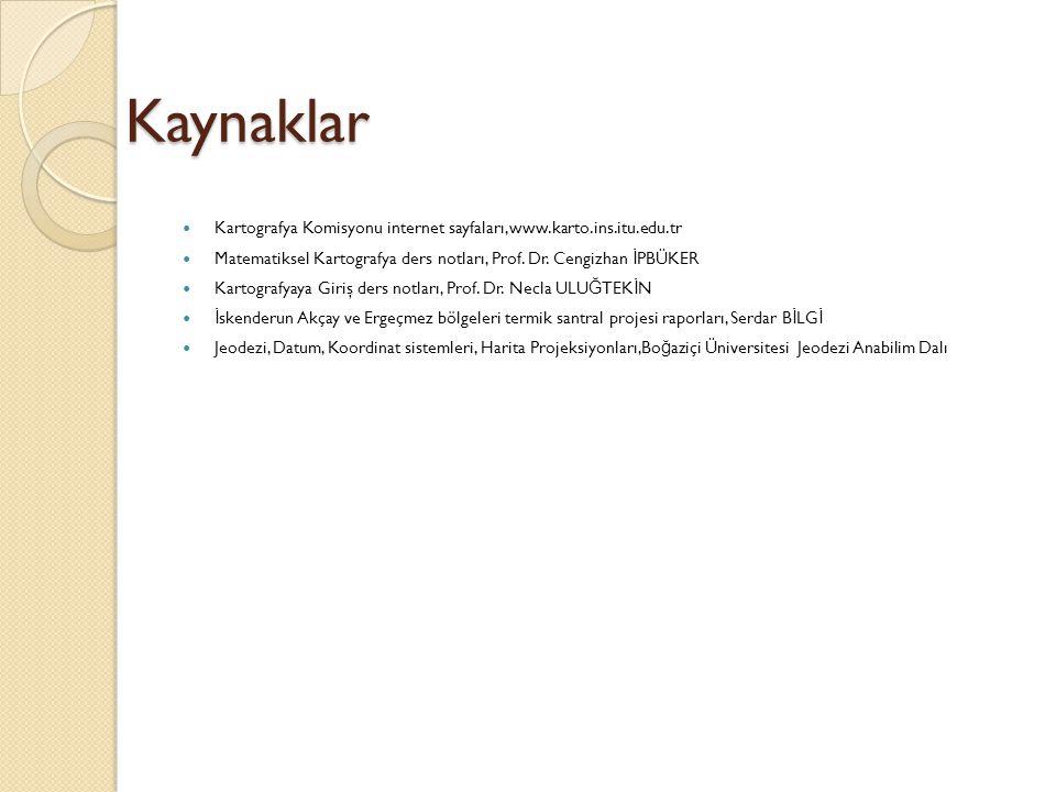 Kaynaklar Kartografya Komisyonu internet sayfaları,www.karto.ins.itu.edu.tr. Matematiksel Kartografya ders notları, Prof. Dr. Cengizhan İPBÜKER.