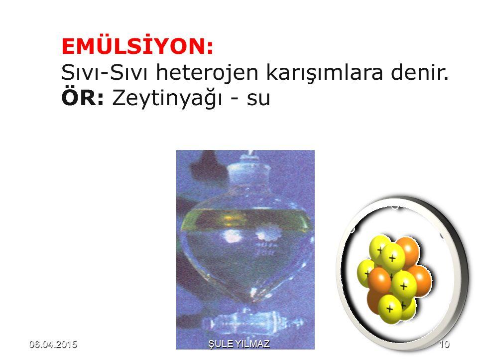 Sıvı-Sıvı heterojen karışımlara denir. ÖR: Zeytinyağı - su