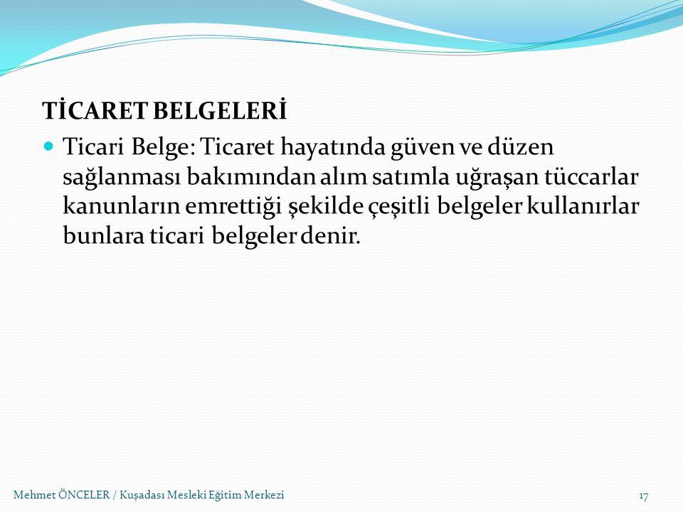 TİCARET BELGELERİ