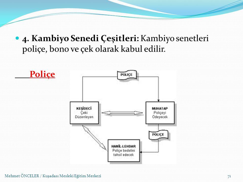 4. Kambiyo Senedi Çeşitleri: Kambiyo senetleri poliçe, bono ve çek olarak kabul edilir.