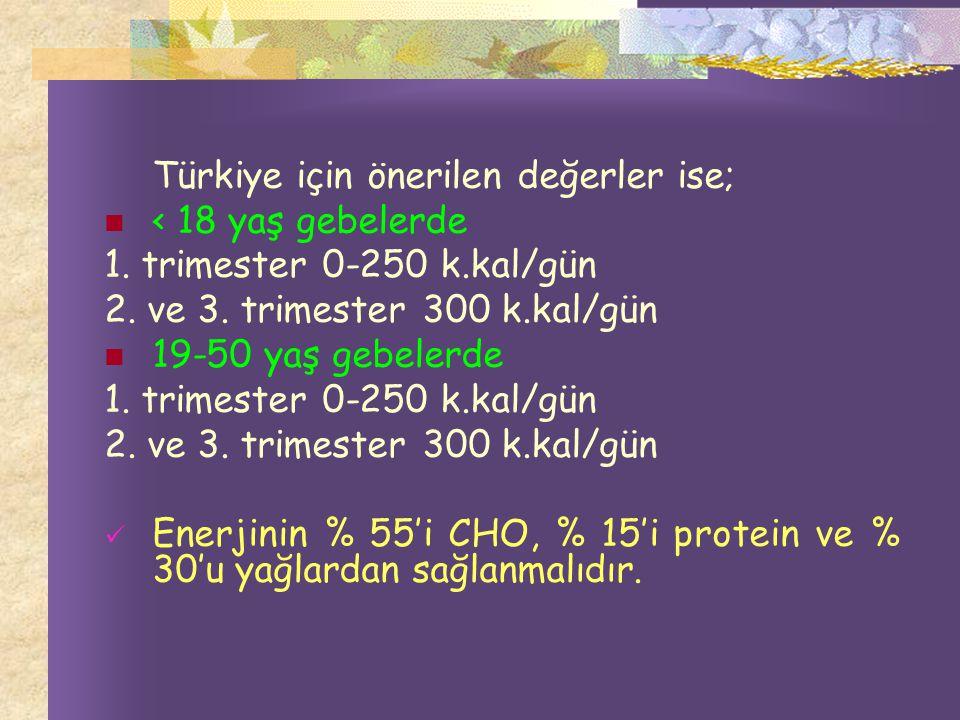 Türkiye için önerilen değerler ise;