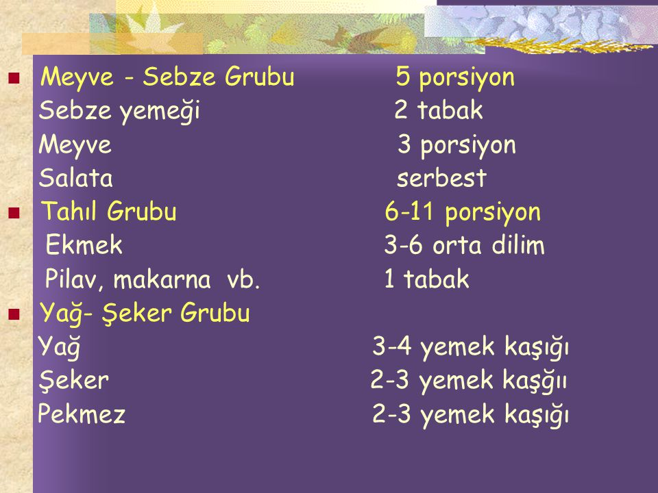 Meyve - Sebze Grubu 5 porsiyon
