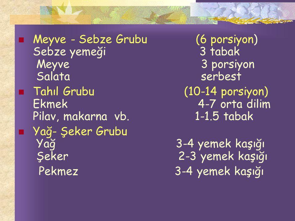 Meyve - Sebze Grubu (6 porsiyon) Sebze yemeği 3 tabak Meyve 3 porsiyon Salata serbest