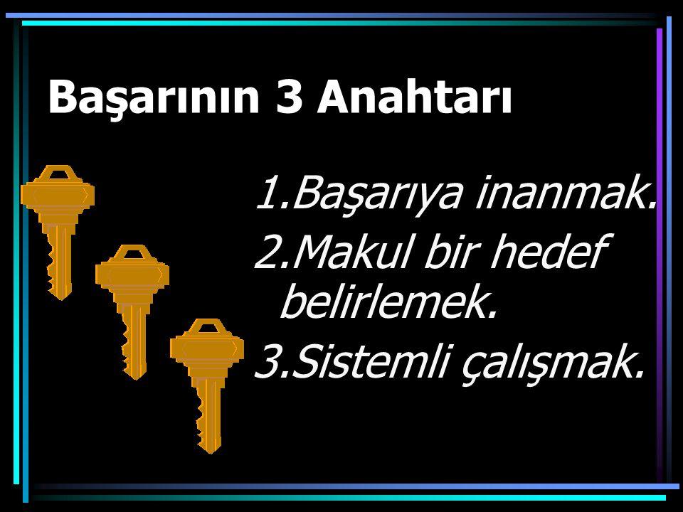 Başarının 3 Anahtarı 1.Başarıya inanmak. 2.Makul bir hedef belirlemek. 3.Sistemli çalışmak.