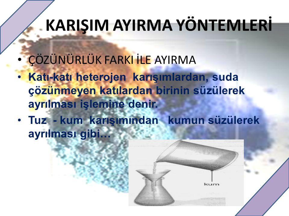 KARIŞIM AYIRMA YÖNTEMLERİ