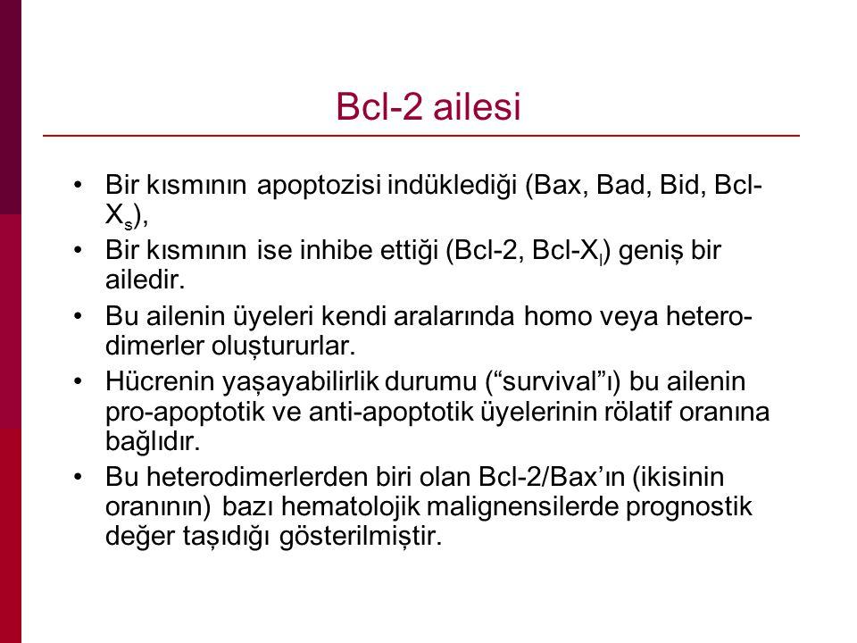 Bcl-2 ailesi Bir kısmının apoptozisi indüklediği (Bax, Bad, Bid, Bcl-Xs), Bir kısmının ise inhibe ettiği (Bcl-2, Bcl-Xl) geniş bir ailedir.