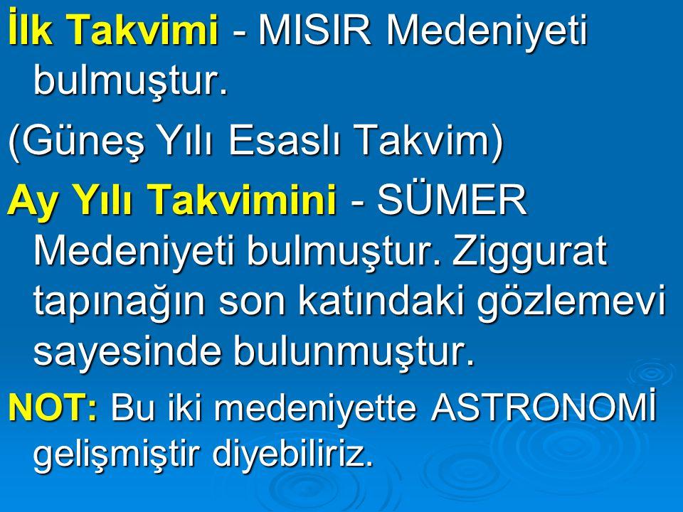İlk Takvimi - MISIR Medeniyeti bulmuştur. (Güneş Yılı Esaslı Takvim)