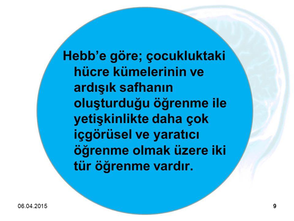 Hebb'e göre; çocukluktaki hücre kümelerinin ve ardışık safhanın oluşturduğu öğrenme ile yetişkinlikte daha çok içgörüsel ve yaratıcı öğrenme olmak üzere iki tür öğrenme vardır.