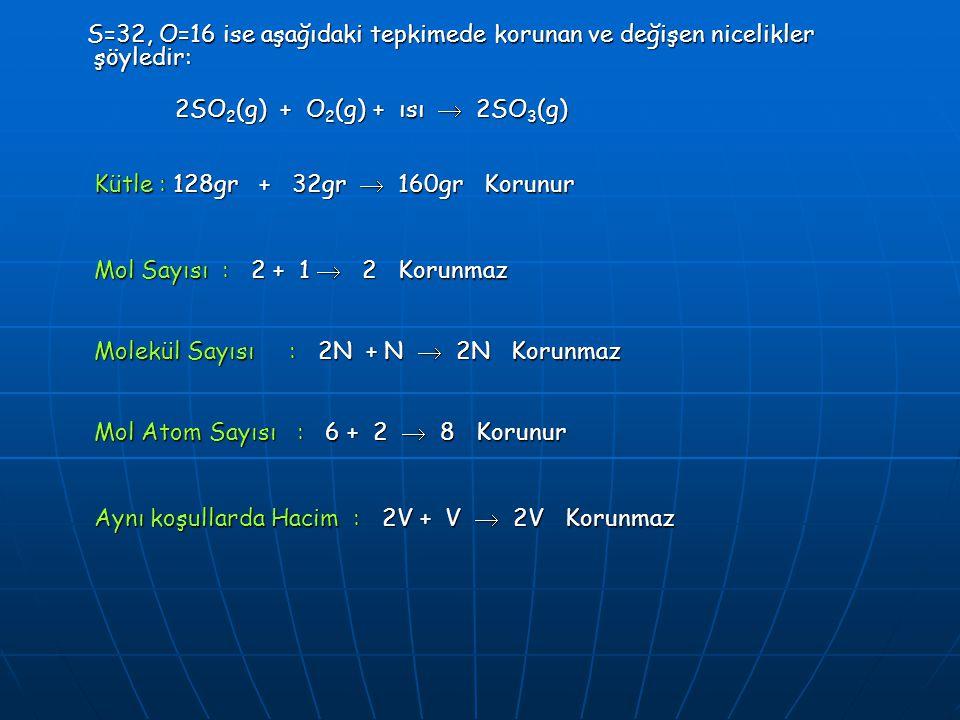 S=32, O=16 ise aşağıdaki tepkimede korunan ve değişen nicelikler şöyledir: