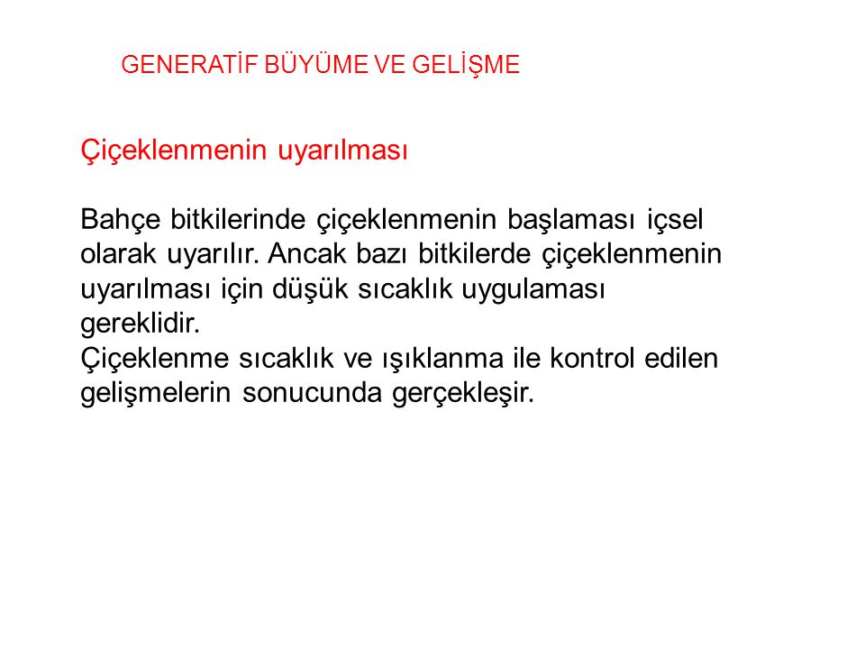 GENERATİF BÜYÜME VE GELİŞME