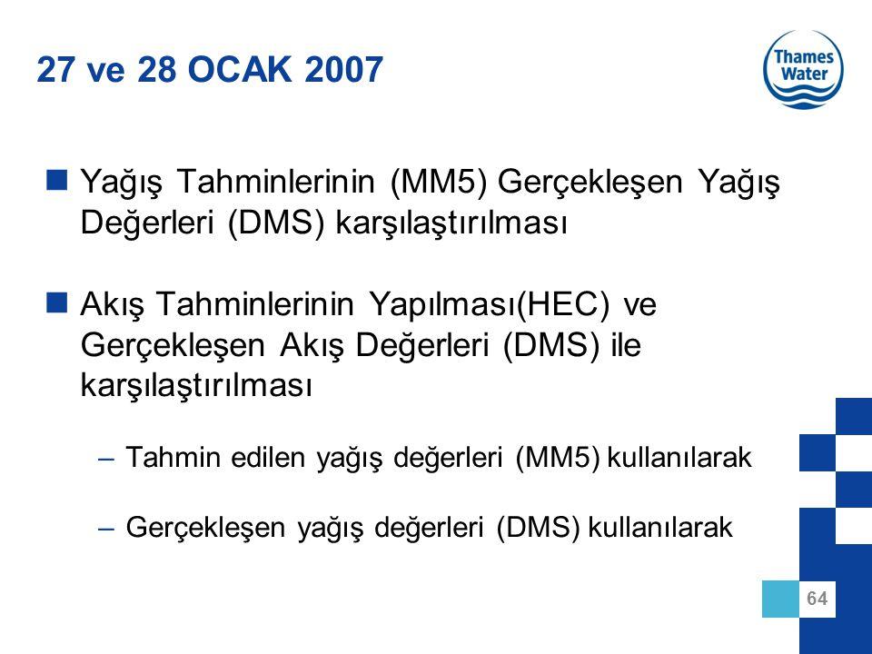 27 ve 28 OCAK 2007 Yağış Tahminlerinin (MM5) Gerçekleşen Yağış Değerleri (DMS) karşılaştırılması.