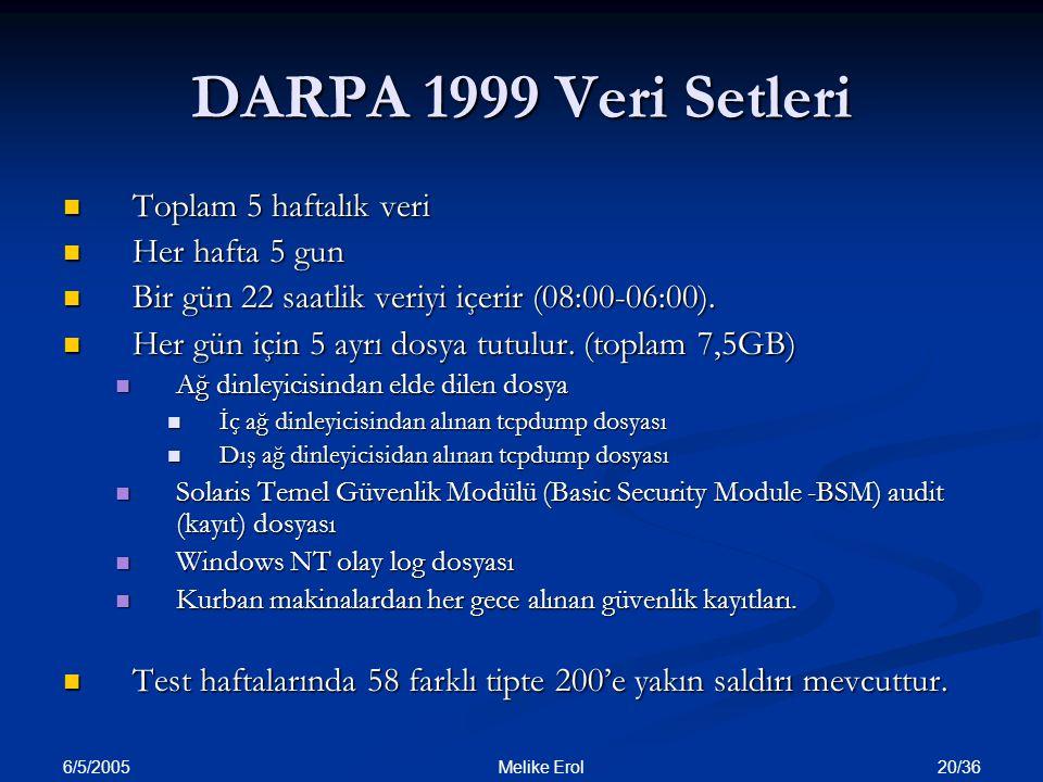 DARPA 1999 Veri Setleri Toplam 5 haftalık veri Her hafta 5 gun
