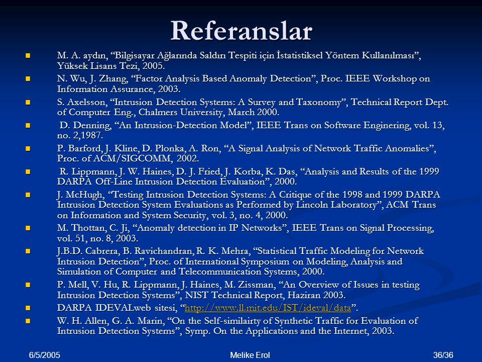 Referanslar M. A. aydın, Bilgisayar Ağlarında Saldırı Tespiti için İstatistiksel Yöntem Kullanılması , Yüksek Lisans Tezi, 2005.