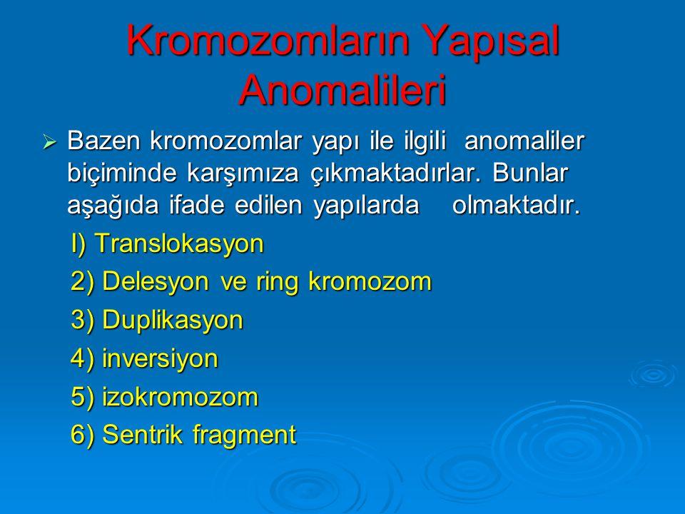 Kromozomların Yapısal Anomalileri
