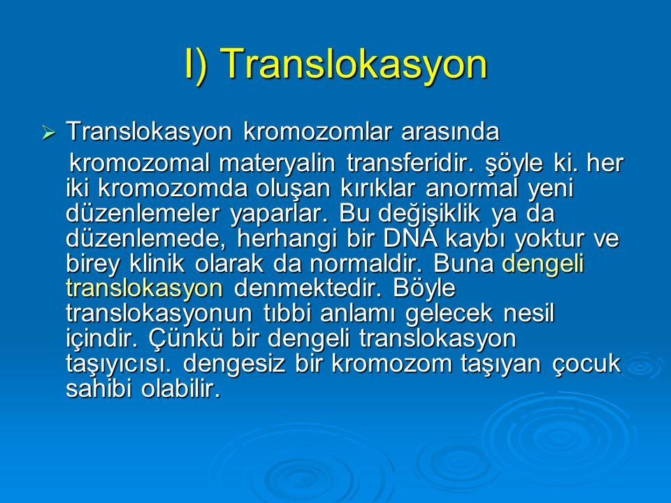 I) Translokasyon Translokasyon kromozomlar arasında