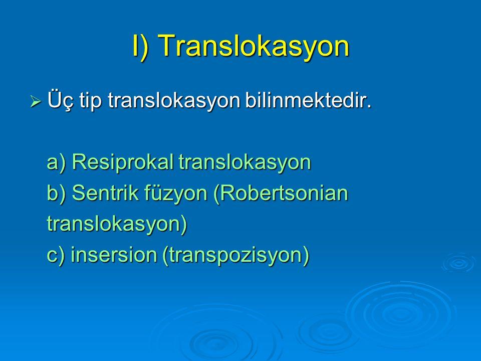 I) Translokasyon Üç tip translokasyon bilinmektedir.
