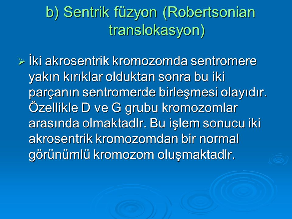 b) Sentrik füzyon (Robertsonian translokasyon)