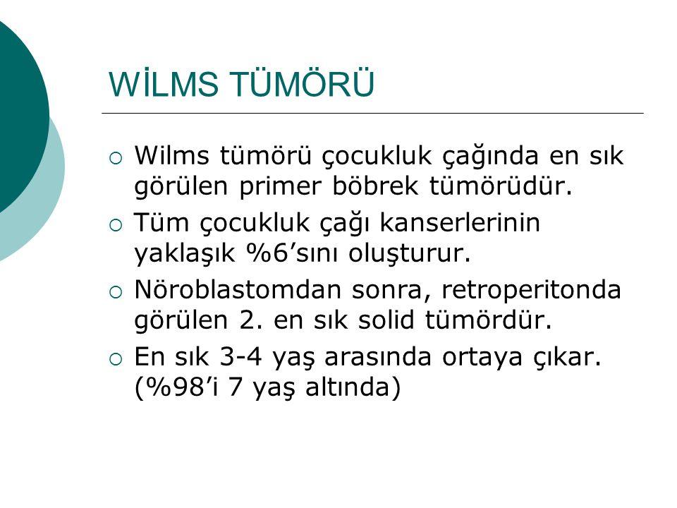 WİLMS TÜMÖRÜ Wilms tümörü çocukluk çağında en sık görülen primer böbrek tümörüdür. Tüm çocukluk çağı kanserlerinin yaklaşık %6'sını oluşturur.