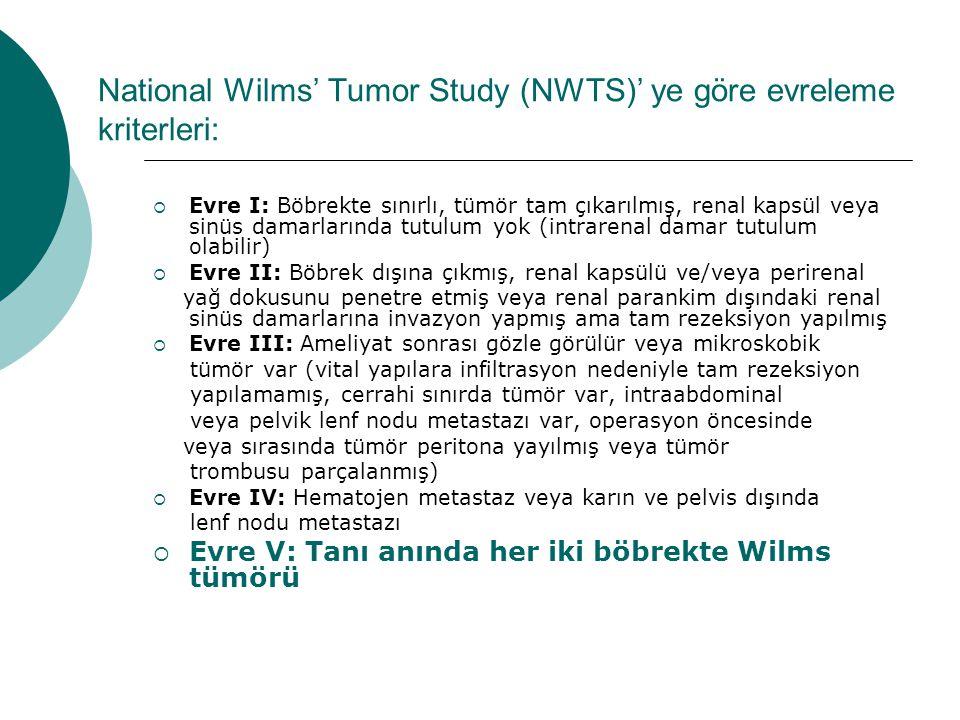 National Wilms' Tumor Study (NWTS)' ye göre evreleme kriterleri: