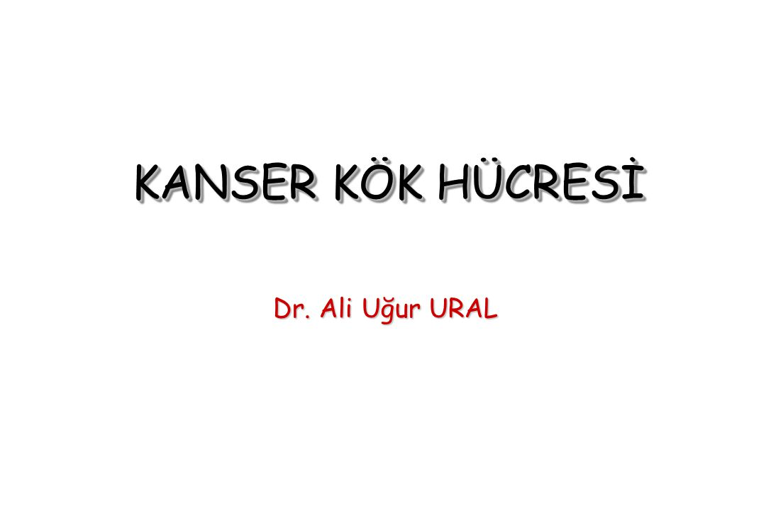 KANSER KÖK HÜCRESİ Dr. Ali Uğur URAL