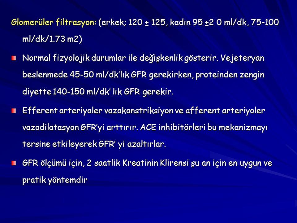 Glomerüler filtrasyon: (erkek; 120 ± 125, kadın 95 ±2 0 ml/dk, 75-100 ml/dk/1.73 m2)