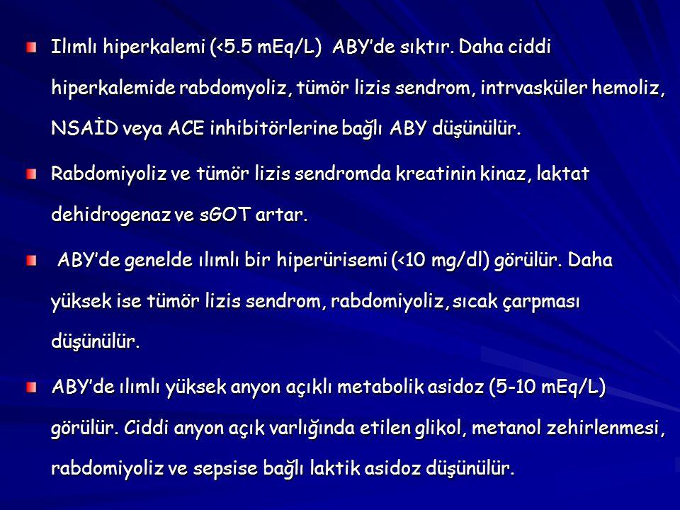 Ilımlı hiperkalemi (<5. 5 mEq/L) ABY'de sıktır