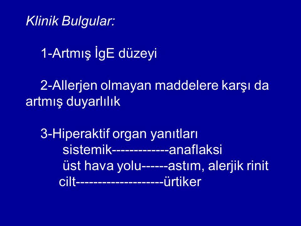 Klinik Bulgular: 1-Artmış İgE düzeyi. 2-Allerjen olmayan maddelere karşı da artmış duyarlılık. 3-Hiperaktif organ yanıtları.