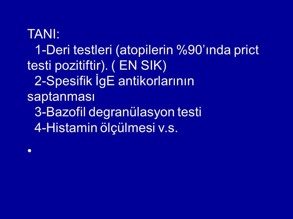 TANI: 1-Deri testleri (atopilerin %90'ında prict testi pozitiftir). ( EN SIK) 2-Spesifik İgE antikorlarının saptanması.
