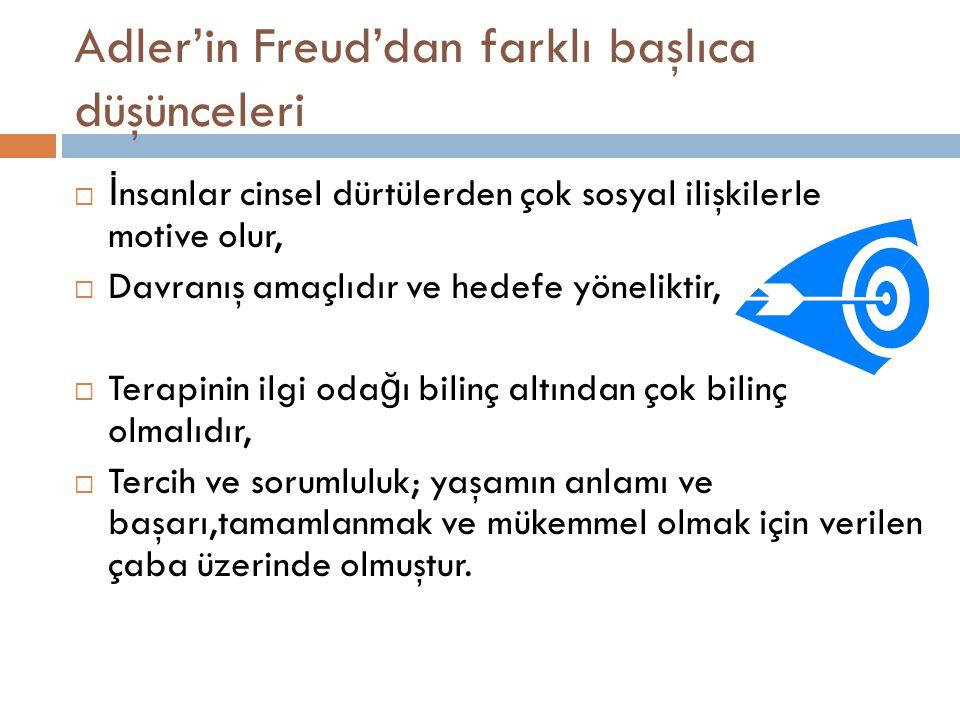 Adler'in Freud'dan farklı başlıca düşünceleri