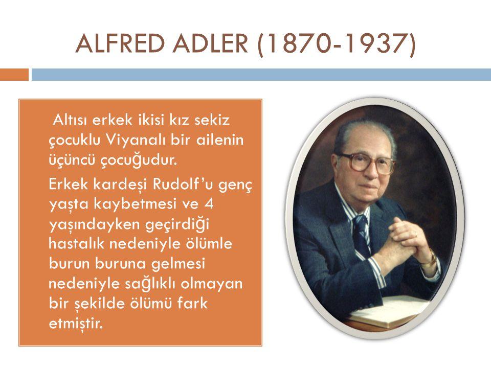 ALFRED ADLER (1870-1937) Altısı erkek ikisi kız sekiz çocuklu Viyanalı bir ailenin üçüncü çocuğudur.