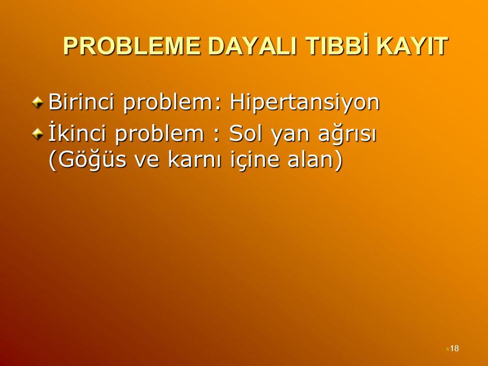 PROBLEME DAYALI TIBBİ KAYIT