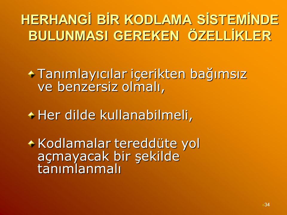 HERHANGİ BİR KODLAMA SİSTEMİNDE BULUNMASI GEREKEN ÖZELLİKLER