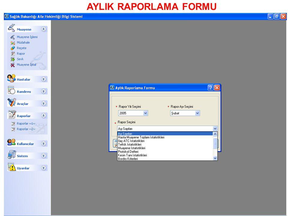 AYLIK RAPORLAMA FORMU
