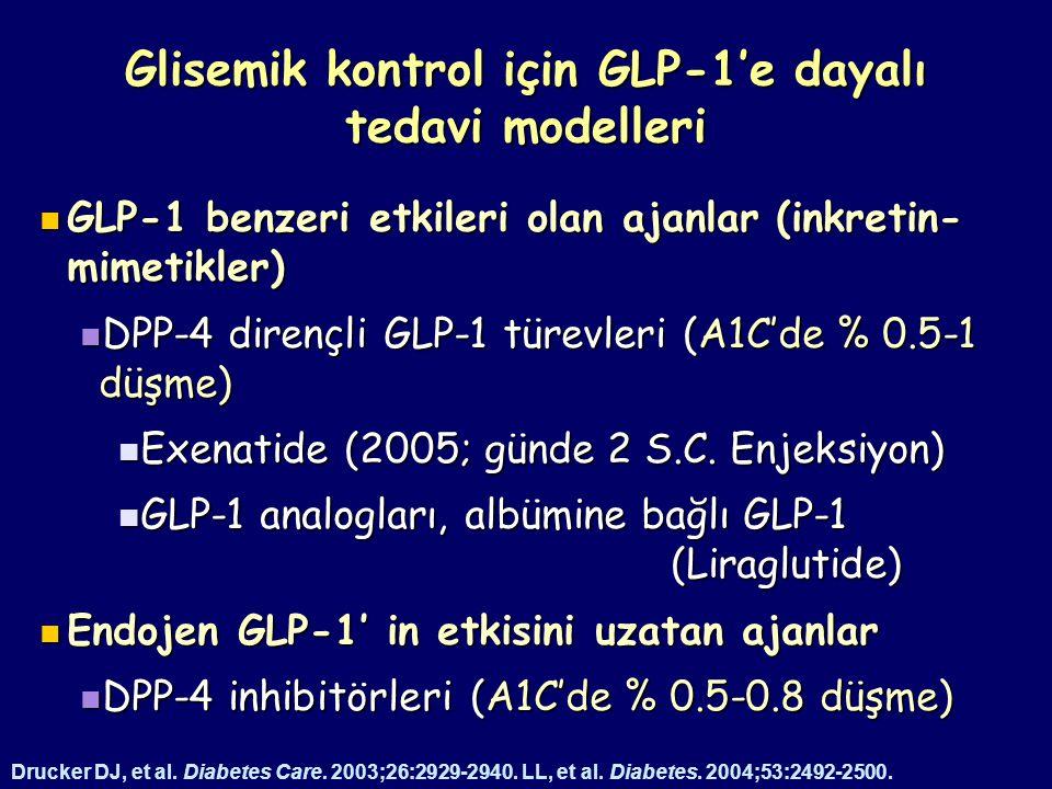 Glisemik kontrol için GLP-1'e dayalı tedavi modelleri