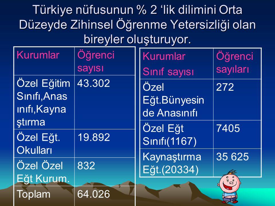 Türkiye nüfusunun % 2 'lik dilimini Orta Düzeyde Zihinsel Öğrenme Yetersizliği olan bireyler oluşturuyor.