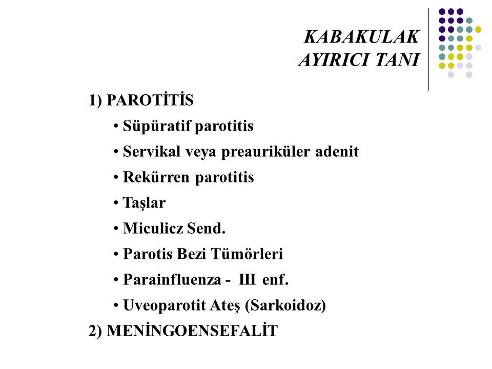 KABAKULAK AYIRICI TANI 1) PAROTİTİS Süpüratif parotitis
